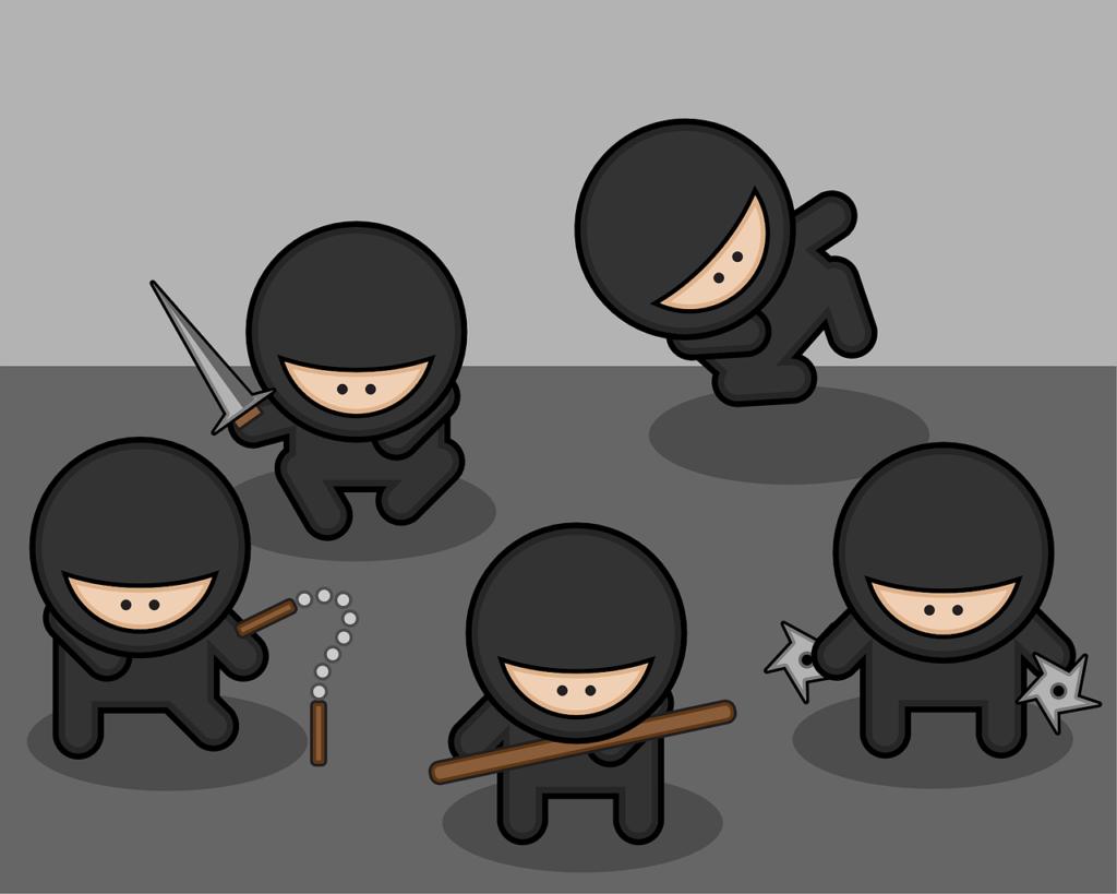 four cartoon ninjas
